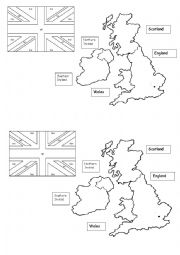 English Worksheet: GREAT BRITAIN MAP AND FLAG