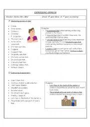 English Worksheet: Expressing Opinion