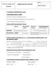 English Worksheet: mid-term test 1  / 1st form