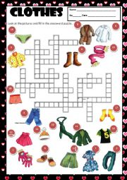 English Worksheet: CLOTHES - CROSSWORD + KEY