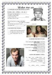 English Worksheet: Wake me up - song
