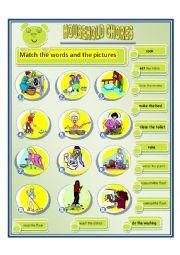 English Worksheet: household chores 3
