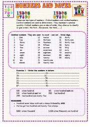 English Worksheet: Numbers and dates