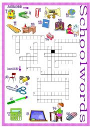 English Worksheet: Schoolwords crossword