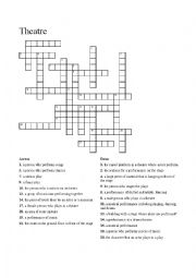 english worksheets theatre crossword. Black Bedroom Furniture Sets. Home Design Ideas
