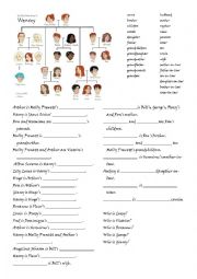 English Worksheet: Family relations exercise - Harry Potter: The Weasley family tree