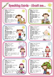 English Worksheet: Speaking Time Series - About me... - Speaking Cards - To Be - GIRLS