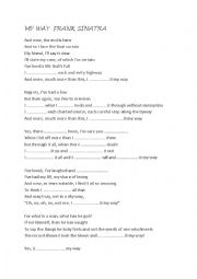 English Worksheet: sinatra frank song