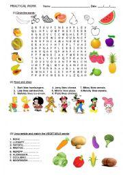English Worksheet: Fruit, vegetables, food, fast food.