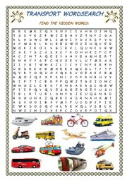 English Worksheet: Transport Wordsearch + Key
