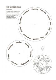 English Worksheet: A weather wheel