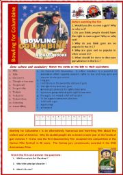 English Worksheet: Bowling for columbine (Film + comprehension + vocabulary + cloze + debate)