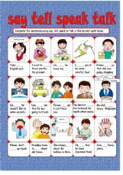 English Worksheet:  Say, Tell, Speak or Talk?
