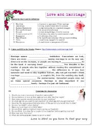 English Worksheet: Listening worksheet: Marriage