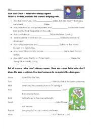 English Worksheet: so, neither, nor