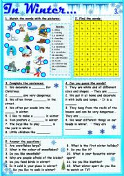 English Worksheet: In Winter...3