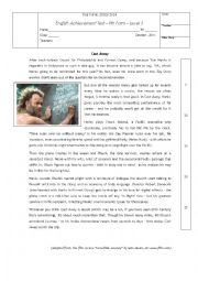 English Worksheet:  TEST ON A FILM REVIEW - TOM HANKS - CASTAWAY