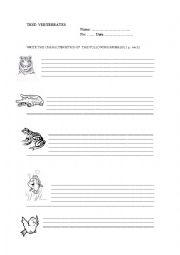 English Worksheet: TEST. VERTEBRATES