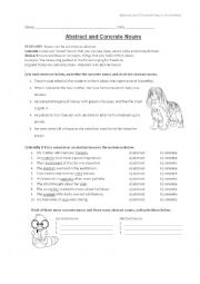 English Worksheet: Concrete and Abstract Nouns