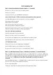 English Worksheet: IELTS FULL SPEAKING TEST SCRIPT
