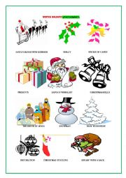 English Worksheet: Winter Holidays (Picture Dictionary)