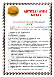 English Worksheet: ARTICLES WITH MEALS
