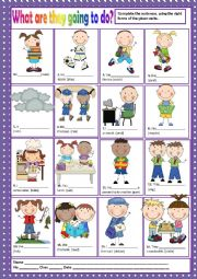 English Worksheet: WHAT ARE THEY GOING TO DO? -