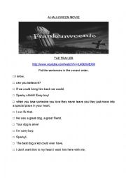 English Worksheet: Frankenweenie the trailer