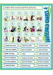 English Worksheet: HOUSEHOLD CHORES 4