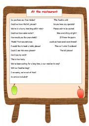English worksheet: At the Restaurant