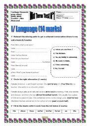 English Worksheet: Mid term test N 1 _ 7th forms