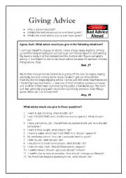 English Worksheet: Conversation - Giving Advice - Agony Aunt