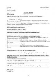 English Worksheet: Pocket Money ( module 1, lesson 4) (9th gr)