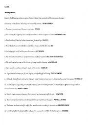 English Worksheet: Sentence transformations