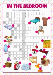 English Worksheet: Bedroom Crossword Puzzle