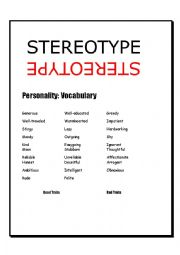 English Worksheet: Cultural and gender Stereotypes