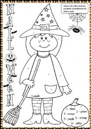 Halloween witch - colouring