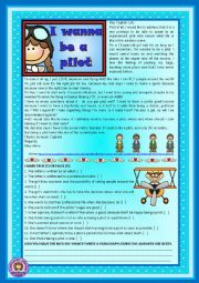 English worksheet: I wanna be a pilot - reading comprehension, grammar (short comparatives and superlatives), writing - 2 pages