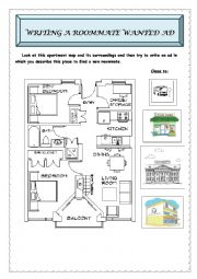 English Worksheet: Guided writing: a roommate wanted ad