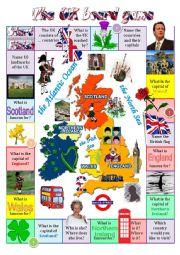 English Worksheet: The United Kingdom board game