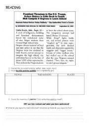 English Worksheet: Article - The Little Rock Nine