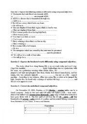 English Worksheet: compound adjectives Practice
