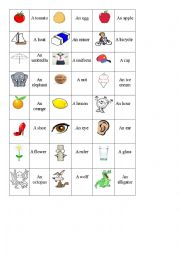 English Worksheet: Indefinite articles (a, an)