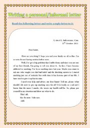 English Worksheet: Writing a personal informal letter (a practice worksheet)
