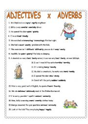 English Worksheet: Adjectives x adverbs