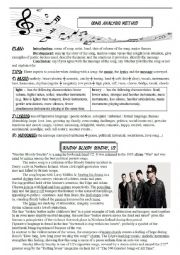 English Worksheet: SONG ANALYSIS METHODOLOGY and an example: Bloody Sunday!
