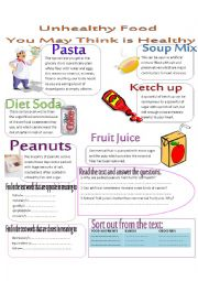 English Worksheet: unhealthy food that you may think is healthy