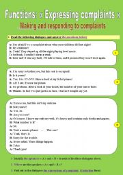 Functions: « Expressing complaints » _ Making and responding to complaints (3 pages!)