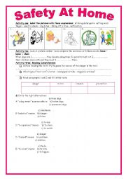 English Worksheet: 9th form  module 1 lesson 5 safety at home