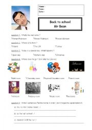 work on the video Mr Bean : Back to school